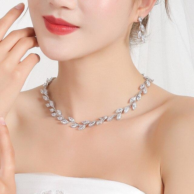 WEIMANJINGDIAN Elegant Marquise Cut Cubic Zirconia CZ Crystal Wedding Jewelry Set for Women