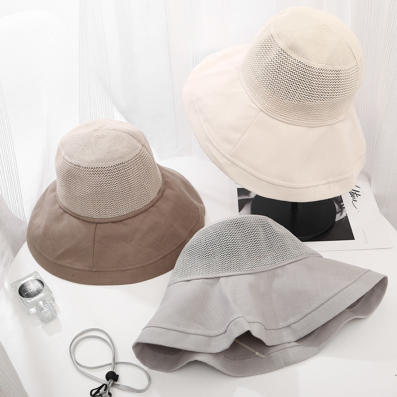 Korea Women Mesh Breathable Bucket Hats Large Brim Folding Sun Visor Outdoors Travel Casual Caps Fisherman Hat 5 Colors in Women 39 s Bucket Hats from Apparel Accessories