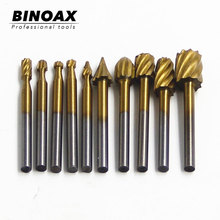 BINOAX 10 sztuk tytanu Dremel frezowanie drewna frezarka pilnikarka frez do drewna rzeźba rzeźbiony nóż wiertła tanie tanio Maszyny do obróbki drewna Inne 40mm Wiercenia drewna TL01145 High speed steel