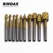BINOAX 10 Uds titanio Dremel enrutamiento de madera fresadora rotativa cortador de Lima rotativa carpintería tallado cuchillo para tallar herramientas de corte
