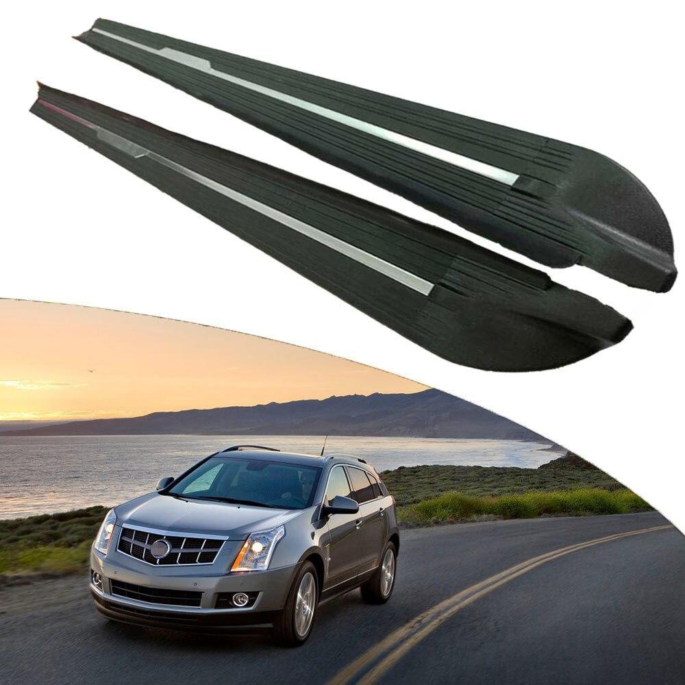 Otomobiller ve Motosikletler'ten Araç Çubukları ve Basamaklar'de KINGCHER Fit Cadillac SRX 2010 2015 için koşu panoları yan adım Nerf Bar alüminyum title=