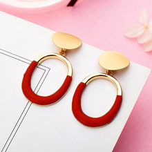 Fashion Luxury Jewelry Oval Metal Pendant Earrings Round Gold Large Exaggerated Geometric for women
