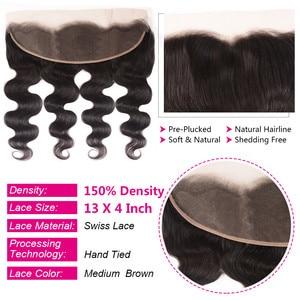 Image 4 - UNice Hair 13x4 Lace Frontal Closure With 3 Bundles Brazilian Body Wave Human Hair Bundle Lace Closure Black friday