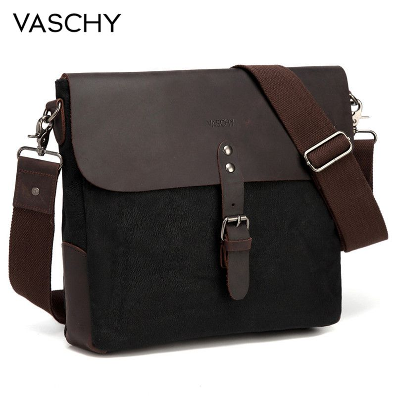 VASCHY Vintage Small Messenger Bag Genuine Leather Waxed Canvas Mens Classic Flap Crossbody Shoulder Bag Black For IPad Men Male