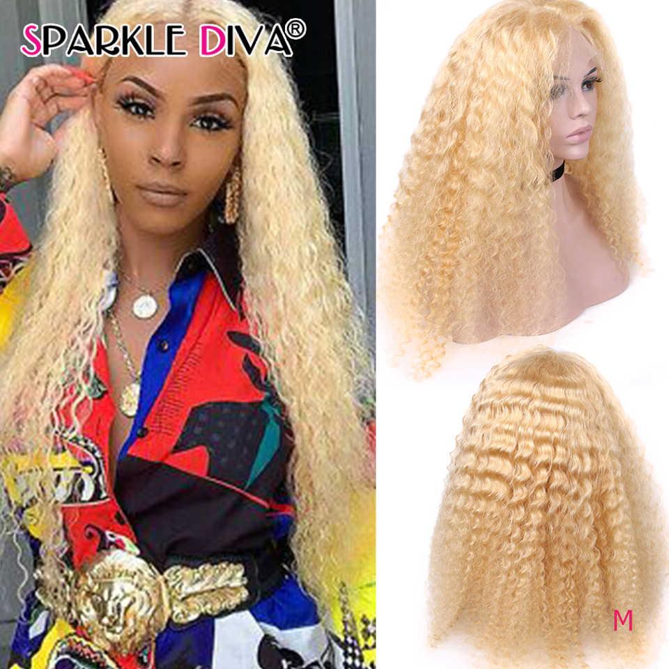 613 Blonde Kant Voor Pruik Braziliaanse Diepe Golf Menselijk Haar Pruiken Pre Geplukt 150% Remy Lijmloze 13X4 Lace Front Menselijk haar Pruiken