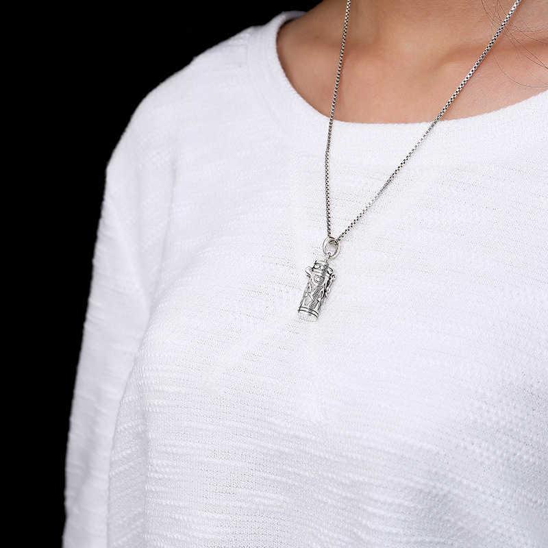 リアル925スターリングスライバーアンティークopenbaleペンダントネックレス男性女性のためのレトロファッション記念ジュエリーホリデーギフト