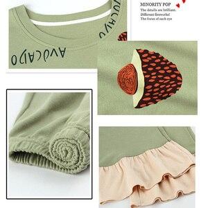 Image 5 - 女性ホームウェアグリーンアボカドパターンoネック寝間着部屋着カジュアル綿パジャマ漫画長袖パジャマ 2 ピースセット