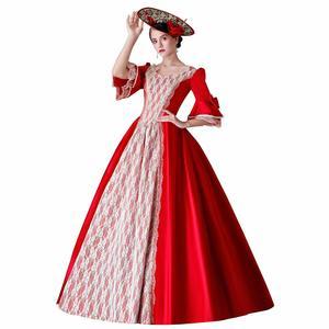 Королевское Платье, красный костюм 18-го века, одежда на Хэллоуин, рождественское праздничное платье, бальное платье