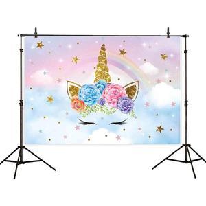 Image 3 - Allenjoy 사진 배경 배너 유니콘 1 생일 무지개 별 구름 배경 photobooth 베이비 샤워 파티 Photozone