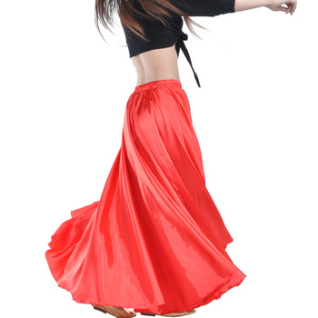 Shining Satin Long Spanish Skirt Swing dancing skirt Belly Dance Sun 14 colors available VL-310 - discount item  45% OFF Stage & Dance Wear