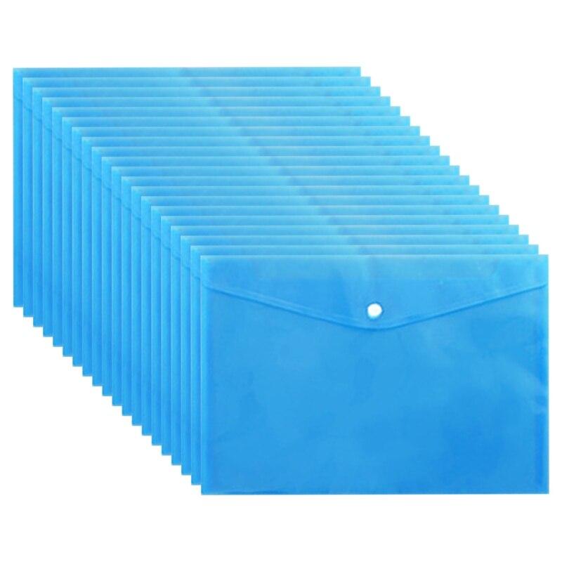 20pcs Waterproof A4 File Bag Button Airtight Folder Document Paper Organizer Storage School Office Supplies Stationery