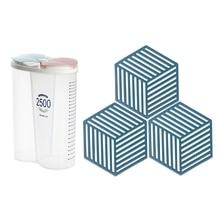 1 Pcs Vacuum Jar Storage Jar Transparent Snack Storage Jar & 3 Pcs Silicone Mat Pot Holder for Countertop Pads,Blue