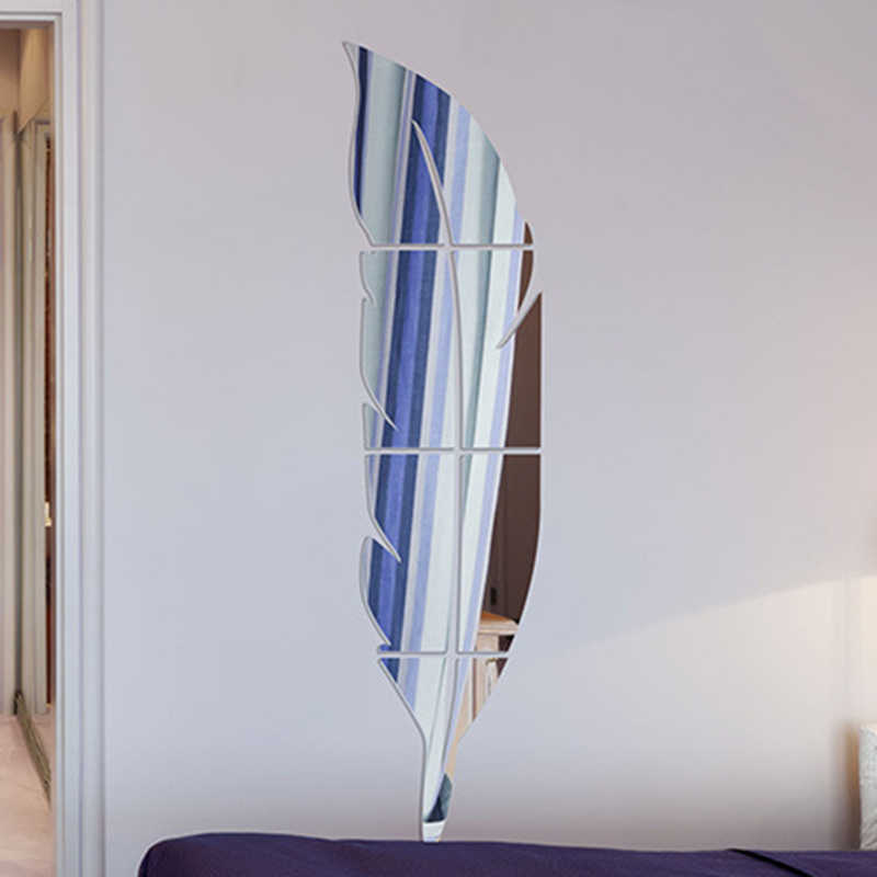 Lông Vũ Soi Gương Dán Tường Phòng Ngủ Trang Trí Nhà Tự Nhựa Dán Phụ Kiện 3D Tường Nhà Decorsticker