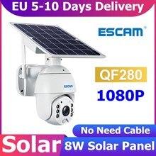 ESCAM QF280 1080P 2MP 8W Solarpanel Batteriebetriebene PTZ IP Wifi-Kamera PIR-Alarm Nachtsicht IP66 Wasserdichte Sicherheitsvideoüberwachungskamera HD-Karte Babyphone Smart Life Home APP-Steuerung