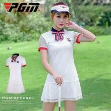 PGM клетчатые женские платья для гольфа, женская спортивная одежда с коротким рукавом, дышащая белая круглая горловина, короткое платье для тенниса