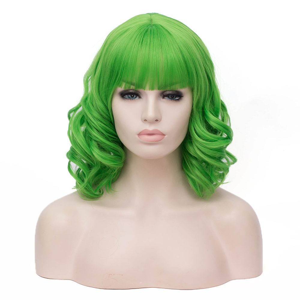 Short Wig With Bangs Curly Hair Green Cosplay Synthetic Wigs For Women