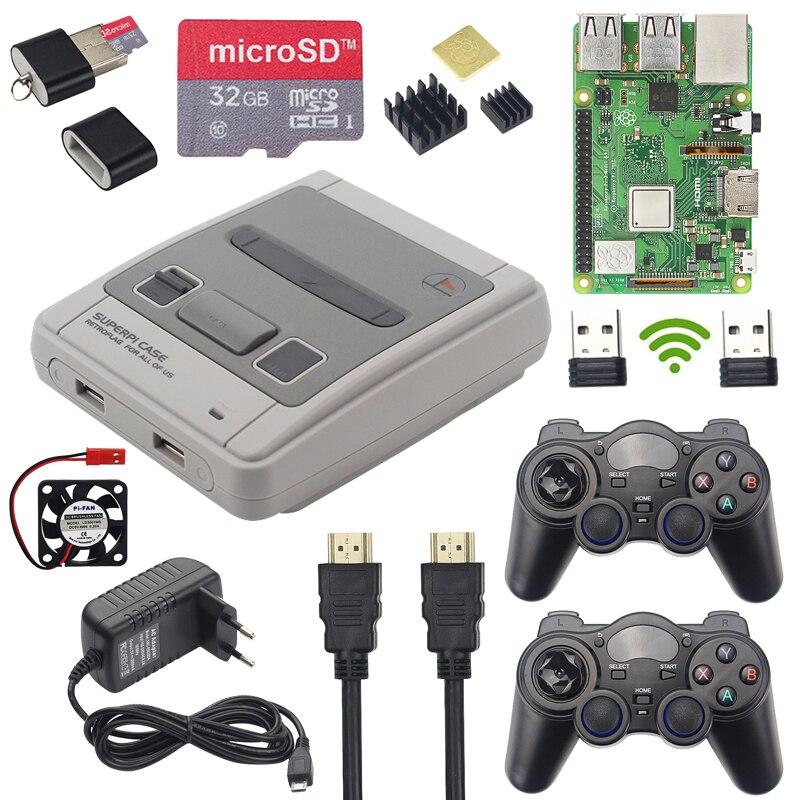3 Raspberry Pi Modelo B + Jogo + Kit Gamepads Sem Fio + 32GB SD Card + Adaptador de Alimentação + HDMI   Caso para RetroPie Pontuação Superpi Retroflag