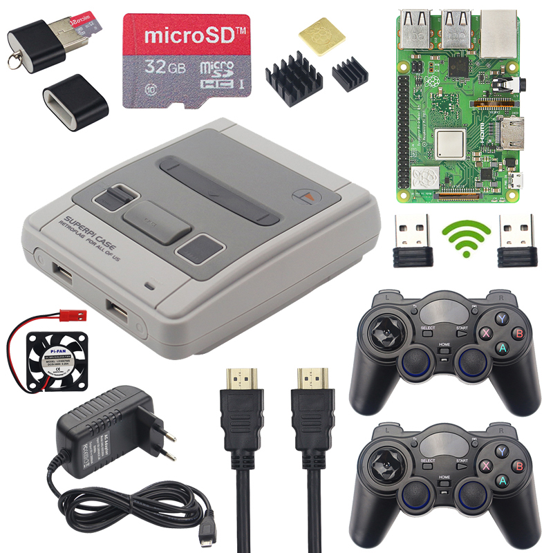 Raspberry Pi 3 Model B+ Game Kit + Wireless Gamepads + 32GB SD Card + Power Adapter + HDMI |Retroflag SUPERPi Case For RetroPie