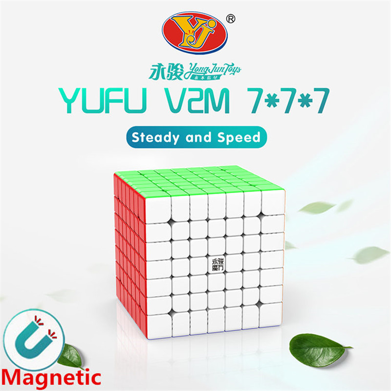 Yj Yufu V2M 7x7x7 Magnetic Magic Speed Cube Yongjun Stickerless Professional Magnets Puzzle Cubes Educational Cube Toys