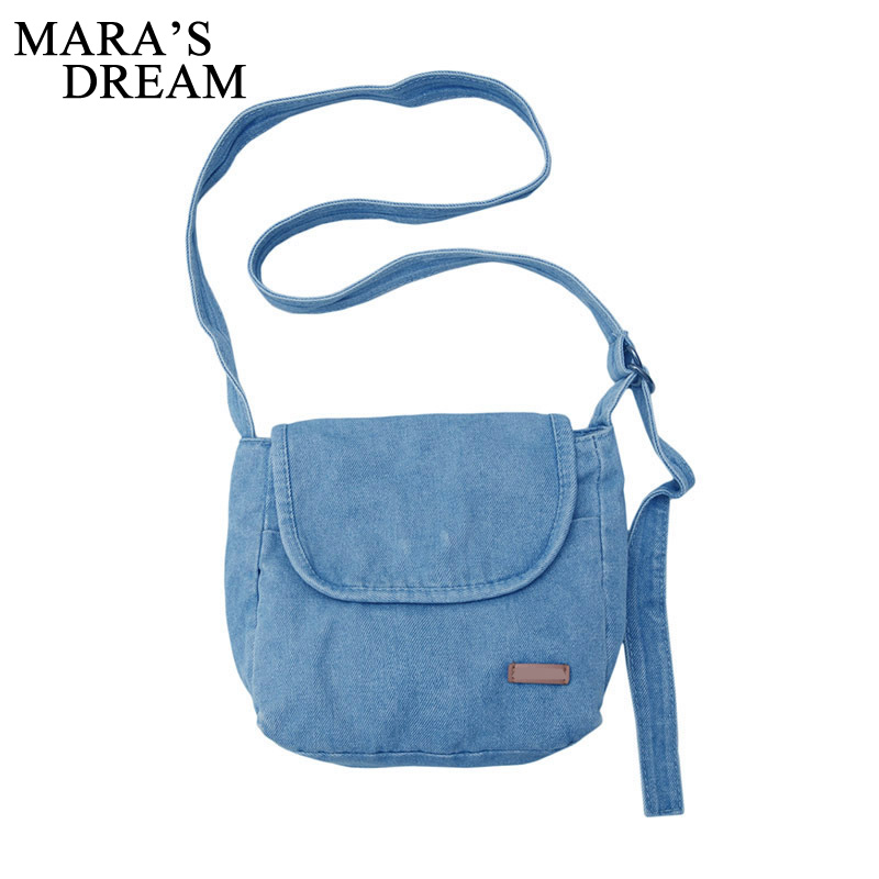 Mara's Dream 2020 New Retro Solid Color Denim Bag Cute Canvas Bag Messenger Women Small Fresh Shoulder Bag