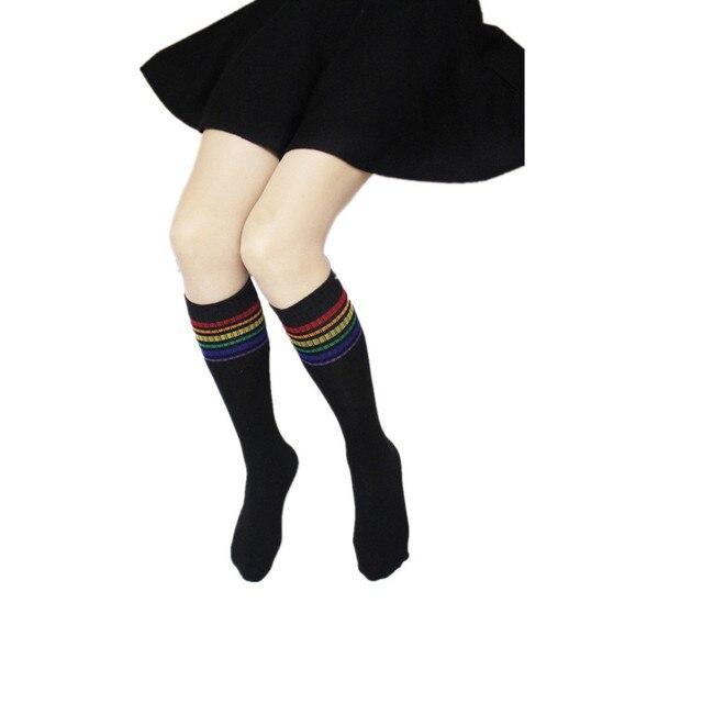Sexy Medias rayé chaussettes longues femmes sur genou cuisse haute sur le genou bas pour dames filles 2020 chaud genou chaussettes femmes 20