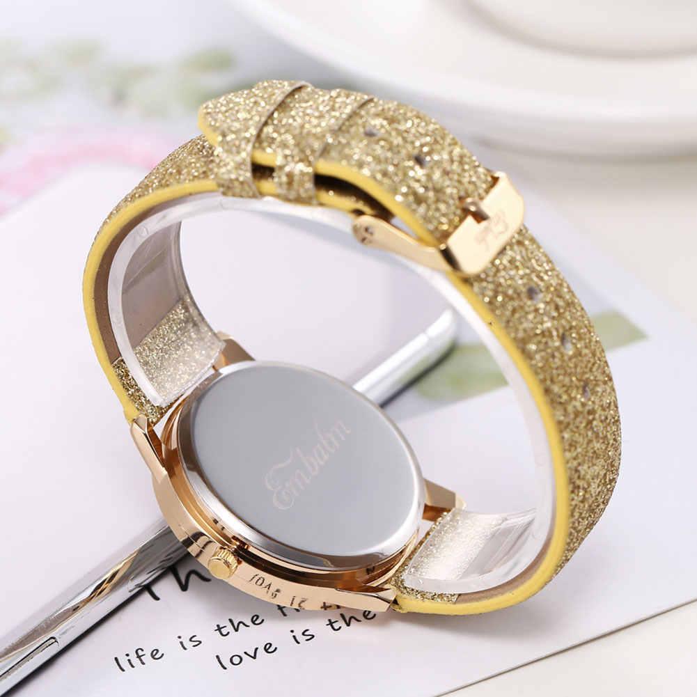 Оптовая Продажа Модные женские арабские цифры Круглый циферблат блеск Аналоговые кварцевые наручные часы