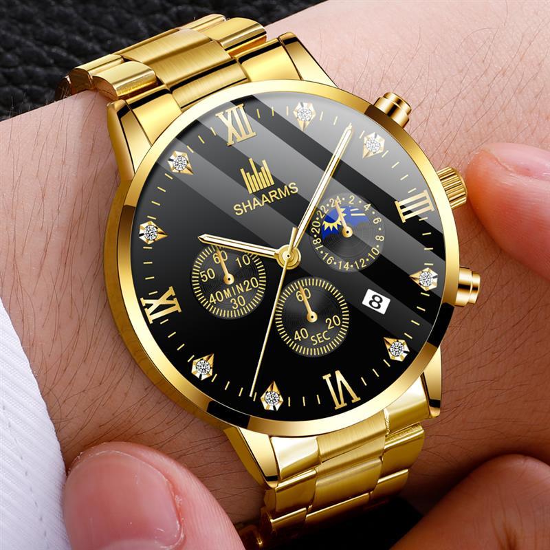 SHAARMS Reloj Hombre Diamond Men Watch Luxury Stainless Steel Band Business Watches Man Quartz Wristwatch Relogio Masculino