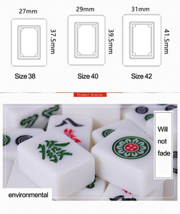 Image 4 - Cor jade branco 40mm ou 42mm padrão chinês mahjong 144 peças telhas jogo conjunto completo na mesa