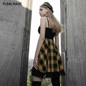 Image 2 - PUNK RAVE kızın ekose askı elbise kadın bayan ince kayış evaze elbise yüksek bel dalgalı parti kulübü elbise kadınlar