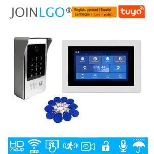 Image 1 - Visiophone avec écran tactile de 7 pouces 720P, interphone vidéo avec écran tactile de 7 pouces, Kit denregistrement de porte, clavier avec caméra RFID, moniteur à distance, livraison gratuite