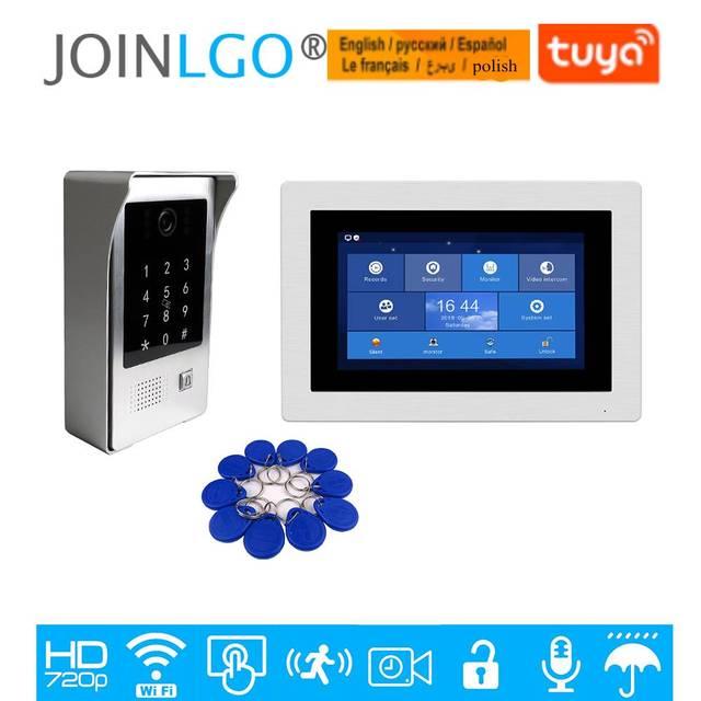 Visiophone avec écran tactile de 7 pouces 720P, interphone vidéo avec écran tactile de 7 pouces, Kit denregistrement de porte, clavier avec caméra RFID, moniteur à distance, livraison gratuite