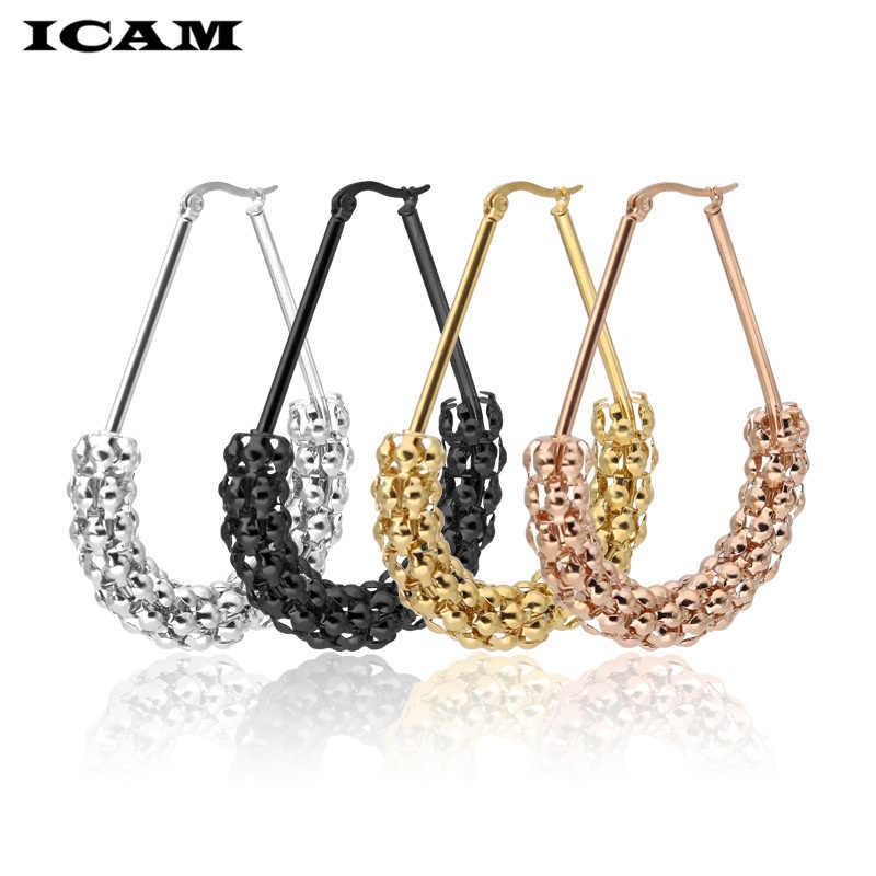 ICAM gold SIlver big circle ข้าวโพดต่างหูทองเงิน rose rose หญิง retro steampunk ear clip เครื่องประดับงานแต่งงานของขวัญ 1 คู่