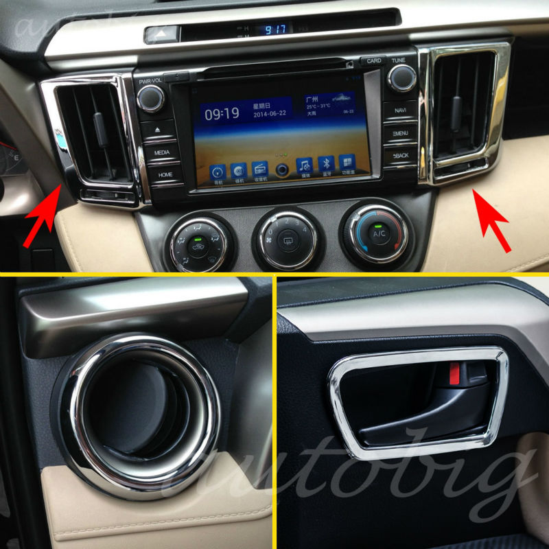 Chrome Inside Interior Air Condition Vent Cover Dashboard Console Trim <font><b>Accessories</b></font> For <font><b>Toyota</b></font> <font><b>RAV4</b></font> RAV 4 2013-<font><b>2018</b></font> image