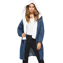 Diwish Long Jacket Hat Detachable Winter Clothes Loose casual  Plus Size Parka Ladies Coats Womens Tops Denim Blouses Hooded