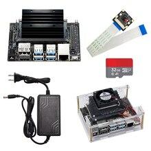 Набор разработчиков Jetson Nano, демонстрационная плата, макетная плата с ии, версия A02, чехол, вентилятор, SD карта 32 ГБ, адаптер питания постоянного тока, камера с ии