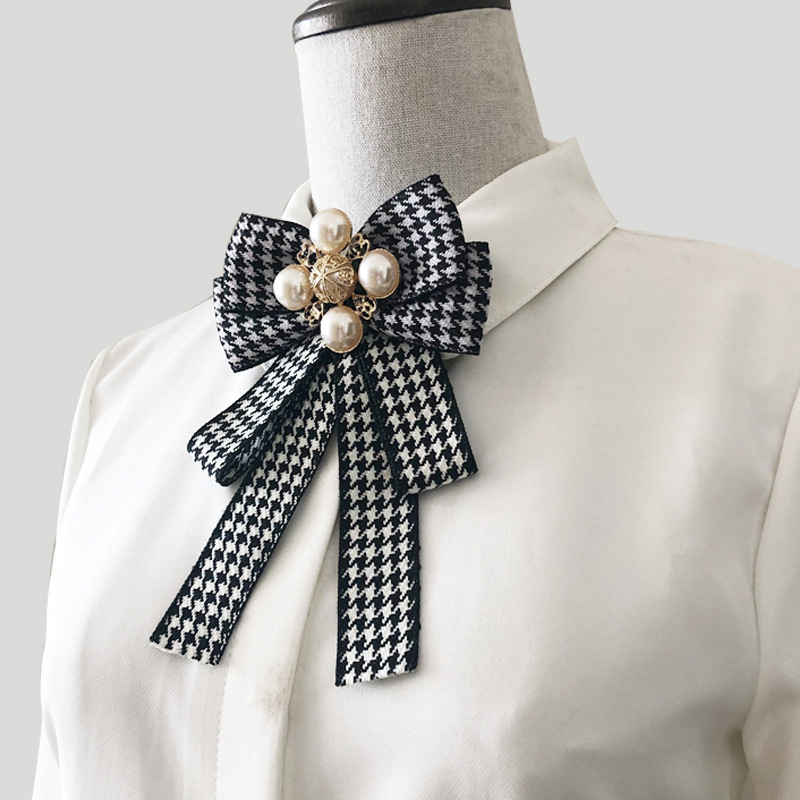 Double Layer Bow Tie Ladies Japanese Style Plaid Jacquard Black And White Alloy Pearls Inlay High Quality Accessories Brooch