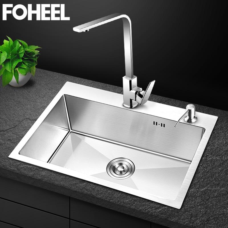 FOHEEL Kitchen Sink Single Bowl Above Counter Or Undermount Handmade Brushed Stainless Steel Kitchen Sinks Wastafel FKS01