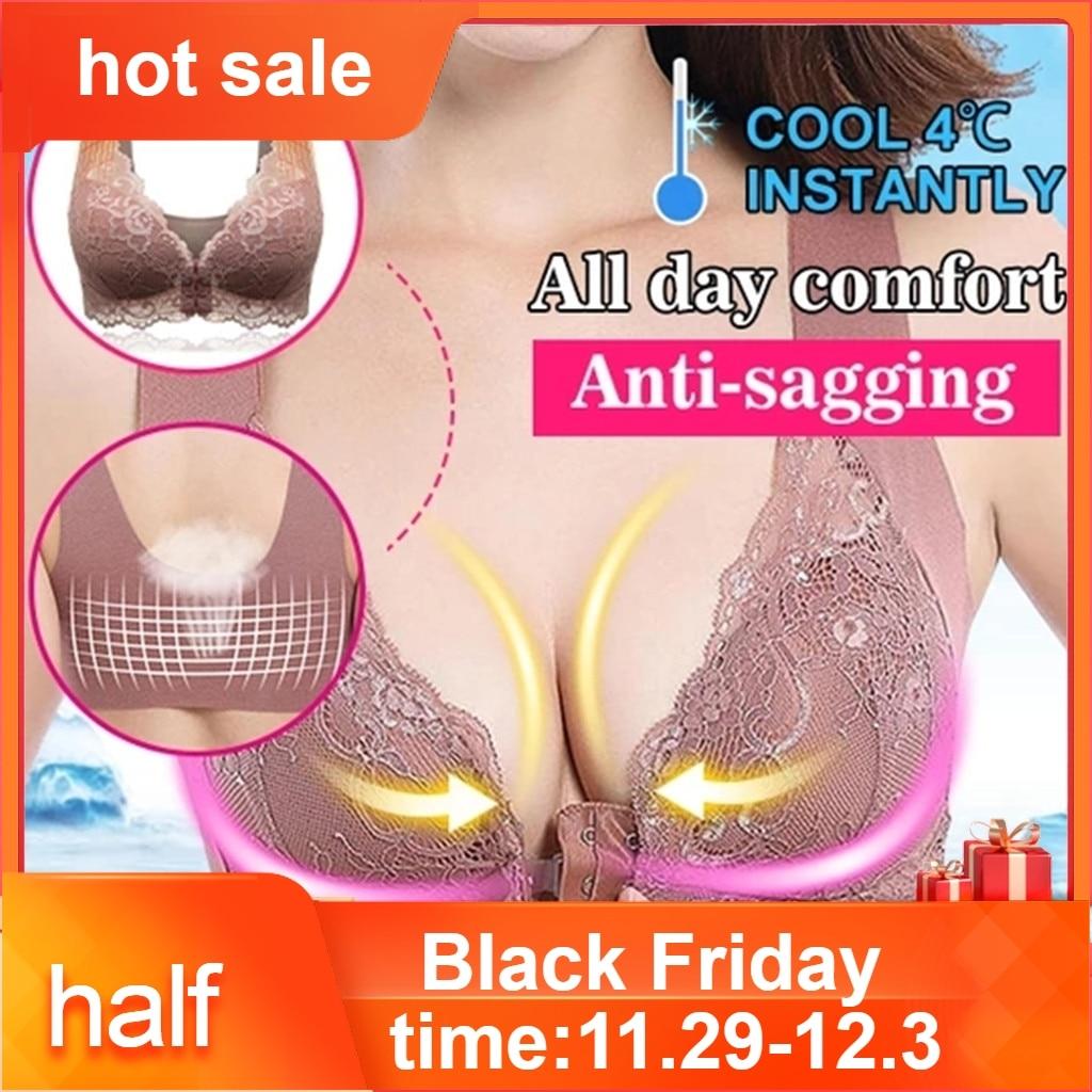 Women's Adjustable Sports Front Closure Extra-Elastic Breathable Lace Trim Bra Push Up Full cap Women's Intimates