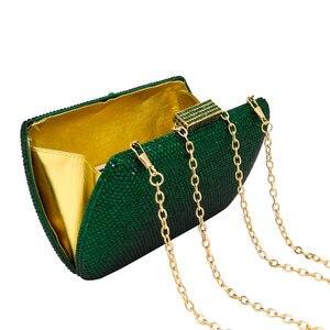 Image 5 - Boutique De FGG ElegantสีเขียวมรกตคริสตัลEveningกระเป๋าถือโลหะกรณีอาหารค่ำคลัทช์