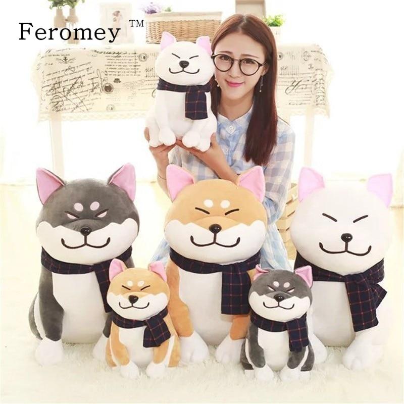 Cute Wear Scarf Shiba Inu Dog Plush Doll Toy Soft Puppy Animal Stuffed Toy Smile Akita Dog Doll For Children Kids Gift