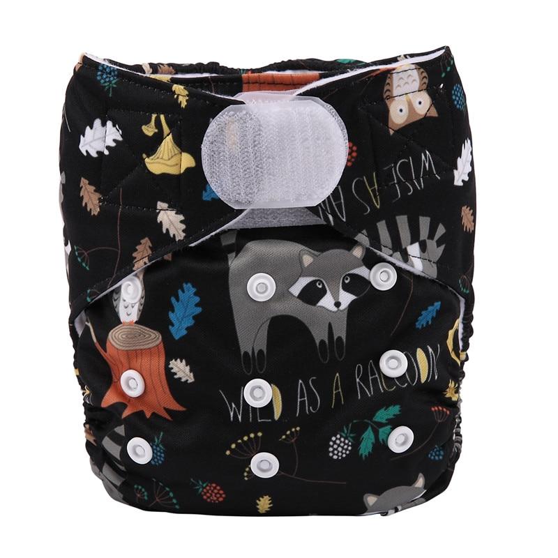 [Sigzagor] 1 тканевый подгузник с карманами для детей, подгузник с застежкой-липучкой, с широкими полосками на талии - Цвет: DV17