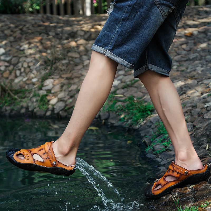 קיץ מים סניקרס גברים עור נעלי החלקה גומי חוף ים הליכה סנדלים מהיר ייבוש זכר מים חוף סנדלי גודל 38-46
