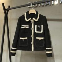 Chic women's elegant pockets short coat 2020 Spring autumn High quality women tweed jackets coat C061