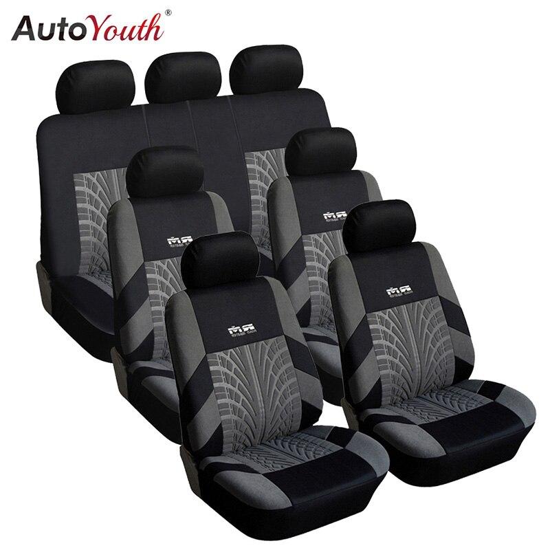 7PCS Track Detail Stil Auto Sitzbezüge Set Polyester Stoff Universal Passt Meisten Autos Deckt Auto Seat Protector