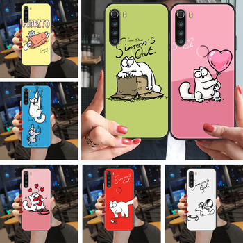 Cute Simons Cat Phone case For Xiaomi Redmi Note 4X 6A 7 7A 8 8T 9 9A 9S 10 K30 Pro Ultra black trend prime painting cover image