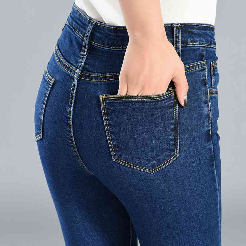 Street Fashion High Waist Elastic Pants Slim Waist Pencil Pants Large Size Jeans Women Plus Size Skinny Jeans Casual Trousers
