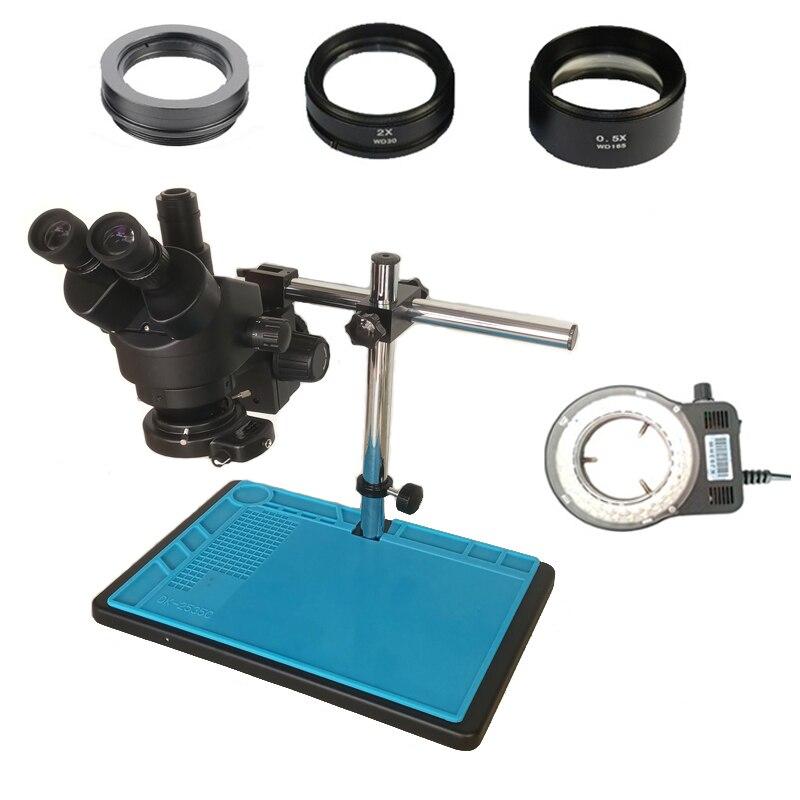 Cor preta 3.5X-90X industrial microscópio estéreo Trinocular 0.5X 2.0X vidro da lente Objetiva para o telefone celular de reparação Eletrônica