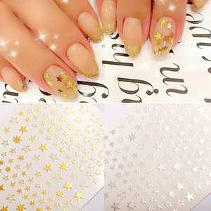 1pc Lovely Stars Geometry 3D Nails Art Sticker gold/silver/rose gold Ornaments self-Adhesive Sliders Manicuring Accessories
