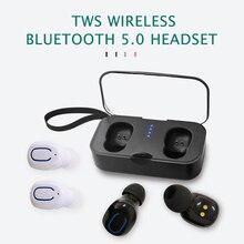 TWS True 5.0 Bluetooth Headset Wireless Handsfree Mini Earphone Bilateral Stereo Sports Headphones With Mic 500 mAh Charging Bin 2017 newest k6 business bluetooth earphone headphones stereo wireless handsfree car driver bluetooth headset with storage box