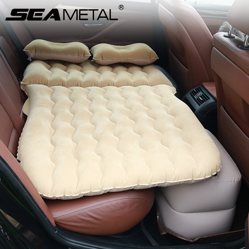 Car Inflatable Air Mattress Back Seat Portable Travel Camping Sleep Bed Cushion with Back Support Fits Universal Car SUV Truck